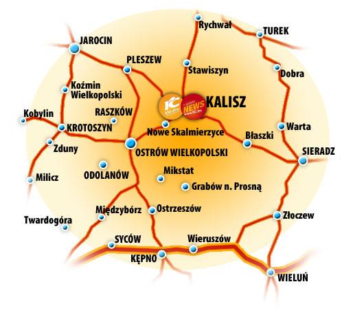 Mapa zasięgu Radia Centrum